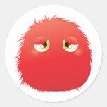 Disconsolate Furry Monster Round Sticker