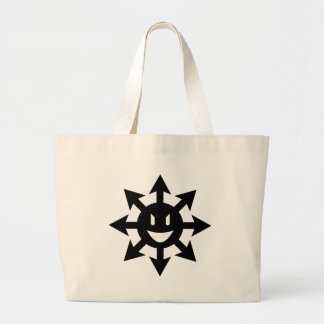Discordia smiling chaos star canvas bags