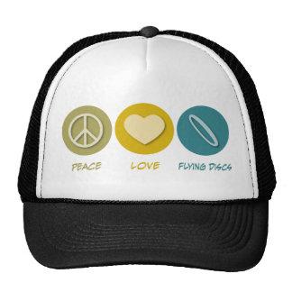 Discos de vuelo del amor de la paz gorros