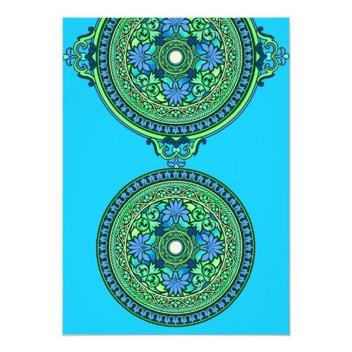 Discos indios del azul y de la aguamarina que invitación 12,7 x 17,8 cm
