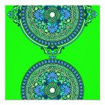 Discos indios del azul y de la aguamarina que invitación 13,3 cm x 13,3cm