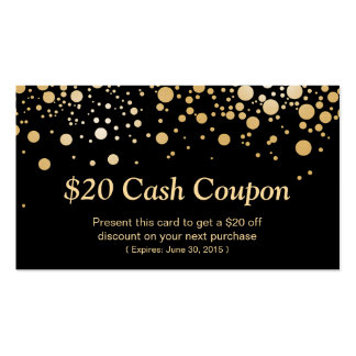 Discount Coupon Card Bright Black Gold Confetti Double-Sided Standard Business Cards (Pack Of 100)