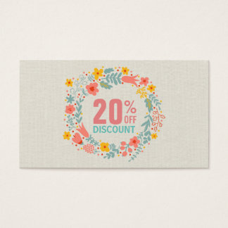Discount Coupon Card - Elegant Linen Floral Wreath