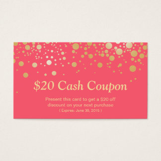 Discount Coupon Card Elegant Pink Coral Gold Dots