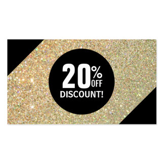 Discount Coupon Card Gold Glitter Black Fashion Business Card