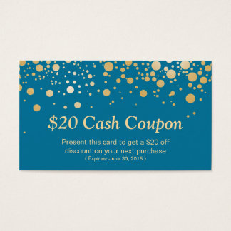 Discount Coupon Card Stylish Gold Royal Blue Dots