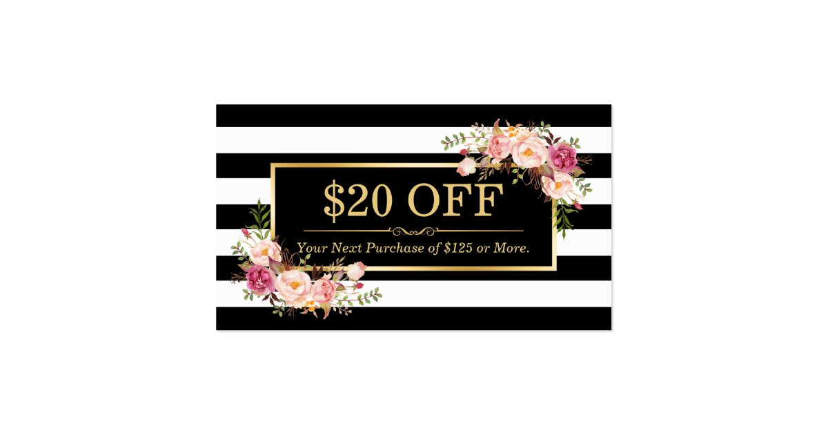 Discount Coupon Classy Gold Floral Beauty Salon Business