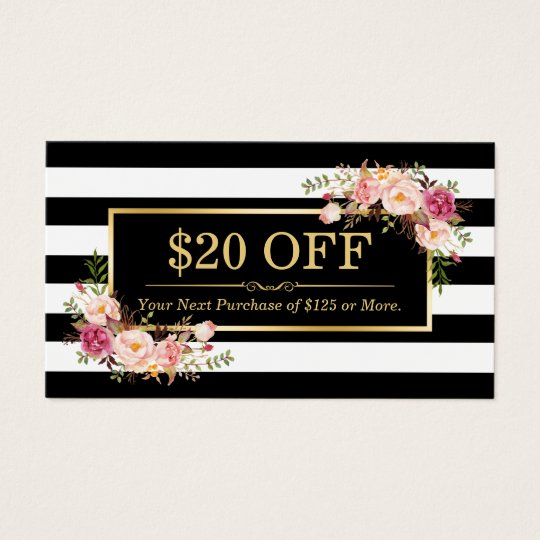 Discount coupon classy gold floral beauty salon business card discount coupon classy gold floral beauty salon business card reheart Image collections