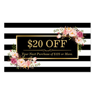 Discount Coupon Classy Gold Floral Beauty Salon Double-Sided Standard Business Cards (Pack Of 100)