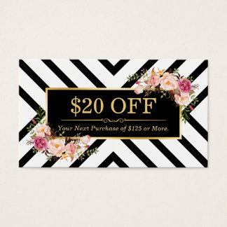 Discount Coupon Gold Floral Beauty Hair Salon Business Card