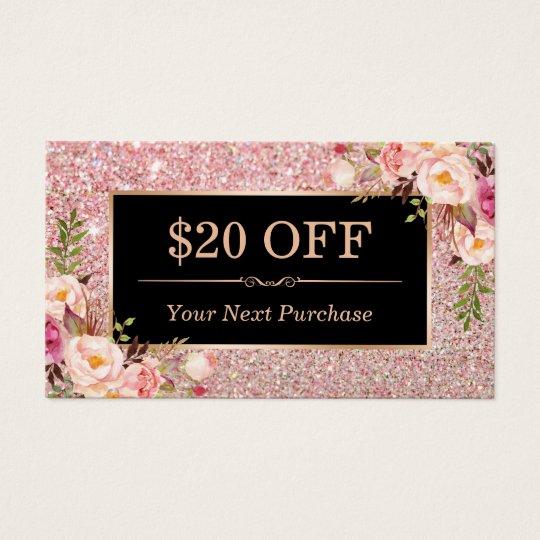 Discount coupon rose gold beauty salon floral business card discount coupon rose gold beauty salon floral business card reheart Image collections