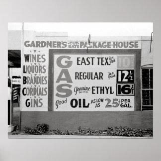 Discount Liquor & Gasoline, 1939. Vintage Photo Poster