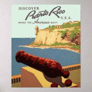 Discover Perto Rico Vintage Travel Poster Print