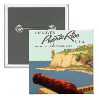 Discover Puerto Rico Poster Pinback Buttons
