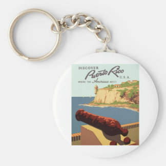 Discover Puerto Rico Poster Keychain