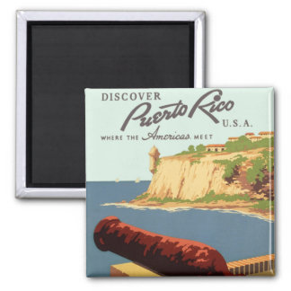 Discover Puerto Rico Poster 2 Inch Square Magnet