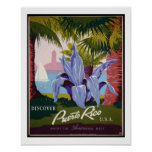 Discover Puerto Rico USA Vintage Travel Poster
