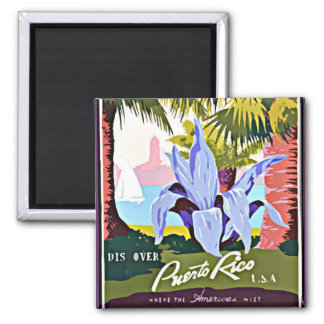 Discover Puerto Rico, vintage design 2 Inch Square Magnet