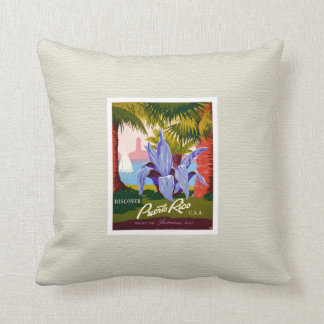 Discover Puerto Rico Vintage Pillow