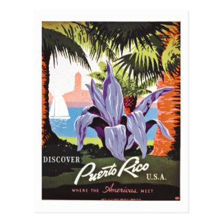 Discover Puerto Rico vintage travel poster Postcard