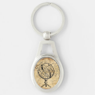 Discover the World Silver-Colored Oval Metal Keychain