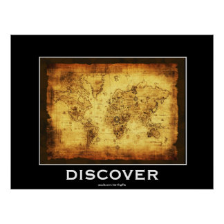 DISCOVERY Old World Map Motivational Poster