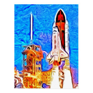 Discovery Space Shuttle Lift Off Postcard