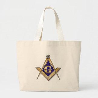 Discreet Blue Square & Compasses Large Tote Bag
