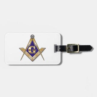 Discreet Blue Square & Compasses Bag Tags
