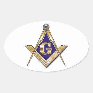 Discreet Blue Square & Compasses Oval Sticker