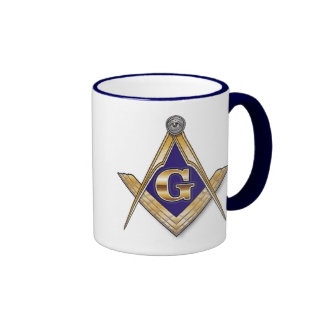 Discreet Blue Square & Compasses Ringer Mug