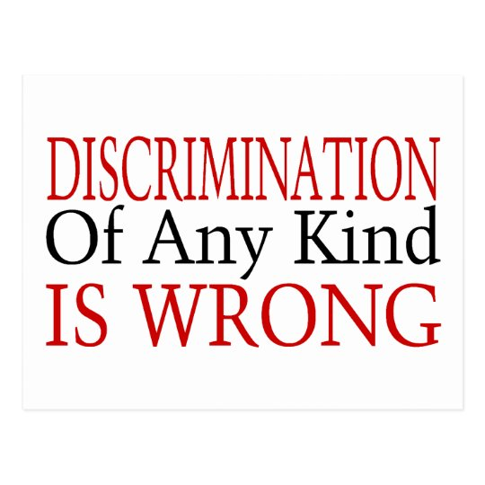 Discrimination Is Wrong Postcard