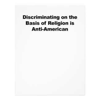 Discrimination on Religion is Anti-American Letterhead