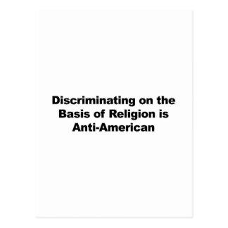 Discrimination on Religion is Anti-American Postcard