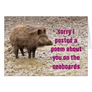 disculpa del poema tarjeta de felicitación