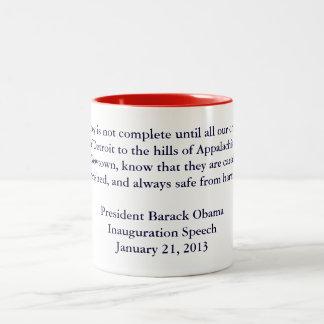 Discurso 2013 de la inauguración de Barack Obama Taza De Café De Dos Colores