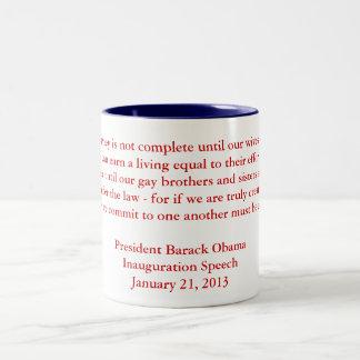 Discurso 2013 de la inauguración de Barack Obama Taza De Dos Tonos