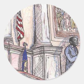 discurso de la Biblioteca del Congreso de obama Pegatina Redonda