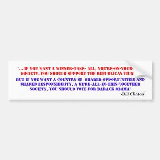 Discurso de Obama Bill Clinton DNC del voto Pegatina Para Auto