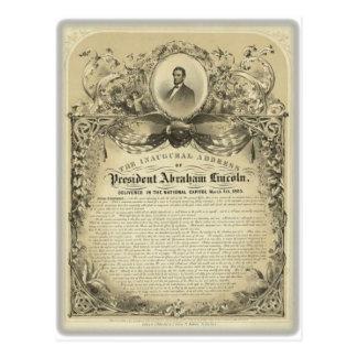 Discurso inaugural de Lincoln del abe del Postales