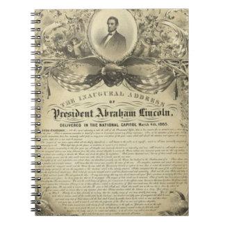 Discurso inaugural de Lincoln del abe del presiden Cuaderno