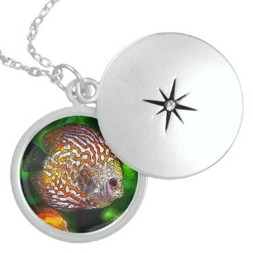 McTiffany Tiffany Aqua Discus_20170601_by_JAMColors Sterling Silver Necklace