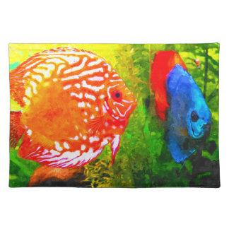Discus aquarium fish  luxury place mat