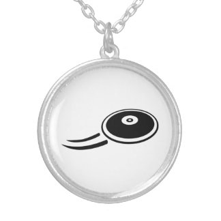 Discus throw silver plated necklace