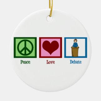 Discusión del amor de la paz adorno navideño redondo de cerámica