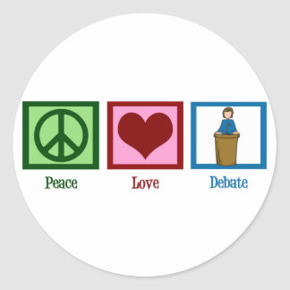 Discusión del amor de la paz pegatina redonda