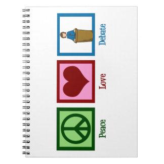 Discusión del amor de la paz spiral notebooks