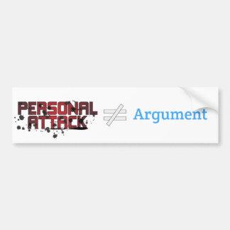 Discusión del ≠ del ataque personal pegatina para auto