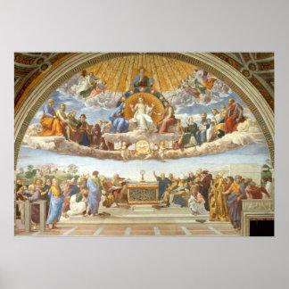 Discusión del sacramento santo por Raphael Póster