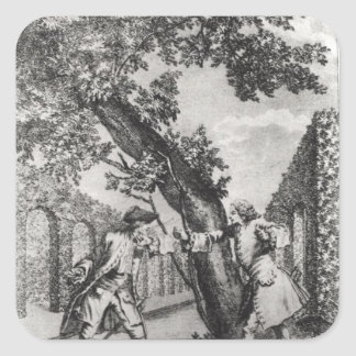 Discusión entre Jean-Jacques Rousseau Pegatina Cuadrada
